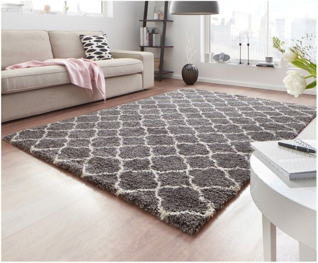 Tappeto in lana grigio scuro 180x120 cm Tapis laine