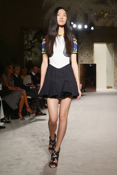 A model walks the runway during the Fay show as a part of Milan Fashion Week Womenswear Spring/Summer 2014 on September 18, 2013 in Milan, I...