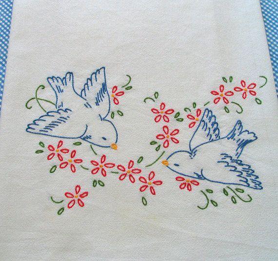 Hand Embroidered Dishtowel