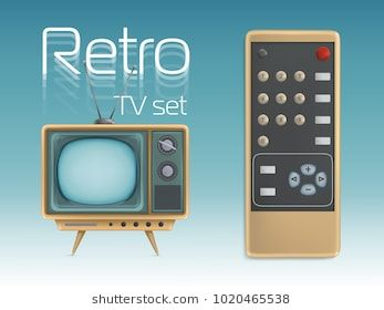 Retro TV set and remote control vector illustration. Vintage screen display television retro icons design for news broadcasting or entertainment poste…