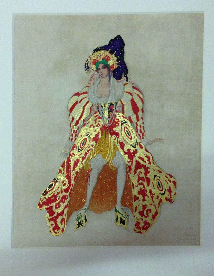 A drawing of Leon Bakt's costume design for Maria Kousnezoff as Potiphar's wife in Mikhail Fokine's ballet La Legende de Joseph. 1914