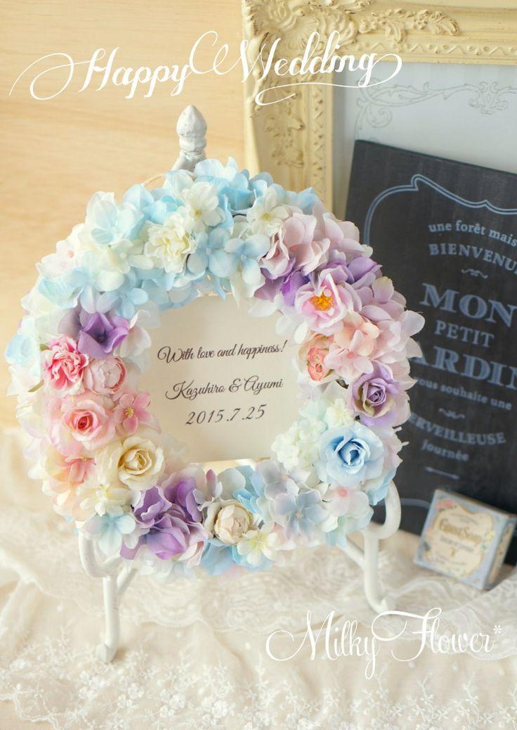 Summer Wedding* 水色×ピンク×パープルのパステルリース* の画像 ウェディング&フラワーリースのMilkyFlower*