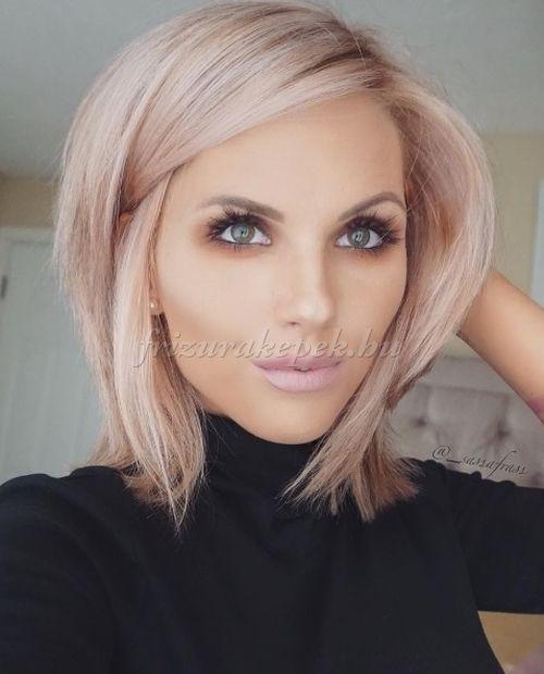 félhosszú+frizurák+egyenes+hajból+-+aranyrózsaszín+bubifrizura