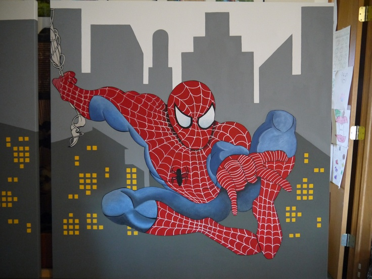 Super Hero Themed Room Spiderman Painted On Canvas