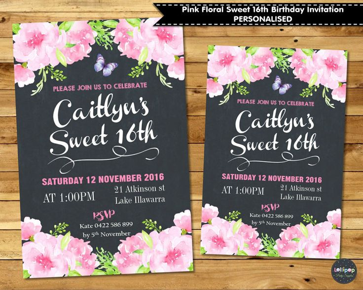 PINK FLORAL SWEET 16TH BIRTHDAY PARTY INVITATION INVITE 18TH BRIDAL BABY SHOWER  #CustomInvitations #16thBirthday