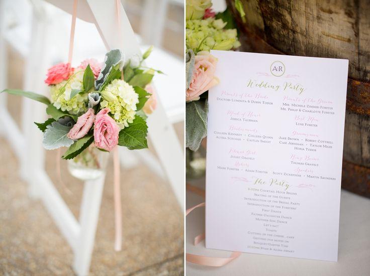 Pastel Pink Wedding Programs Ceremony Flowers Decor