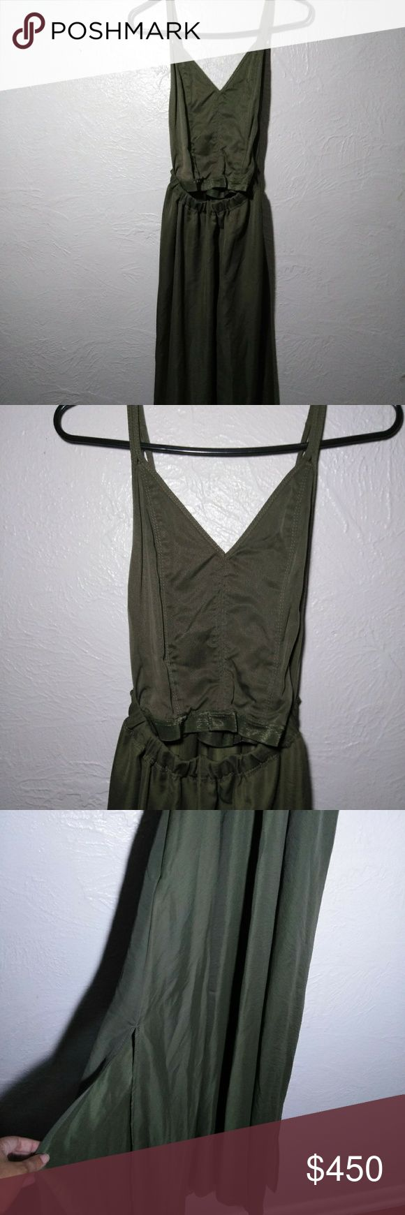 Diesel Olive Green Dress XS Looking for something elegant and edgy for prom? Homecoming? A Gala? This is the perfect dress. It's backless with straps. It shows your mid drift and the fabric is slightly see through. Great if your trying to show off that body you worked so hard to keep in shape! The dress is long with deep pockets and slits on both sides. It has never been worn and it retails for $650. There is a small wear barely noticeable in the final photo. Diesel Dresses Backless