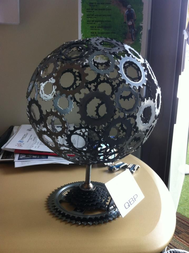 Globe made from recycled bike parts