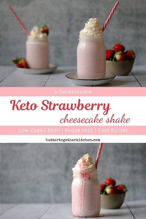 Keto Strawberry Cheesecake Shake – Creamy and Thick Milkshake #ketoshake #strawb…