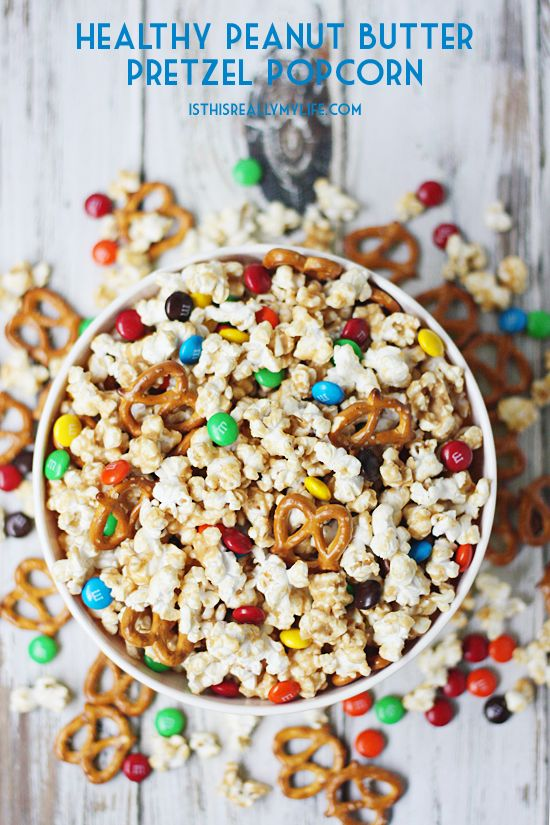 Try this healthy pretzel peanut butter popcorn mix instead of those higher-fat…
