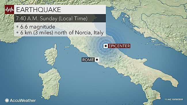 October 30, 2016 |  The strongest earthquake to hit Italy since 1980 struck on Sunday morning, damaging numerous buildings and injuring many.