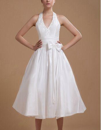 V-Neck a Line Halter Tea Length Dress