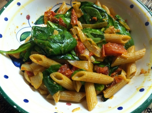 roasted cherry tomatoes & garlic, caramelized onions, spinach, basil ...