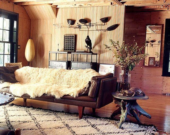 leather sofa, sheepskin, berber