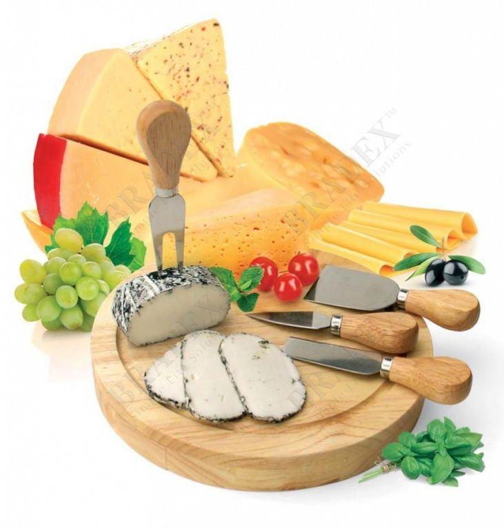 Набор для резки сыра из 4-х приборов и деревянной доски «РОКФОР» АРТИКУЛ: TK 0090 Сыр - продукт, требующий трепетного к себе отношения. Его производство может занимать долгие месяцы, а порой и годы. Однако если сделать все верно, кропотливый труд вознаграждается одним из самых вкусных продуктов, который делает любое блюдо чуточку лучше. Как и приготовление, прием сыра в пищу - особый, прекрасный ритуал, который, как и любое таинство, требует специальных инструментов. Набор для резки сыра…