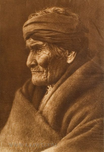 GERONIMO~Age 76 yrs.  Photo by CURTIS;  This photo was taken the day before the innaugauration parade (in which Geronimo partook) of President Roosevelt. Photo was taken in 1905, calculating that Geronimo was born in 1829.