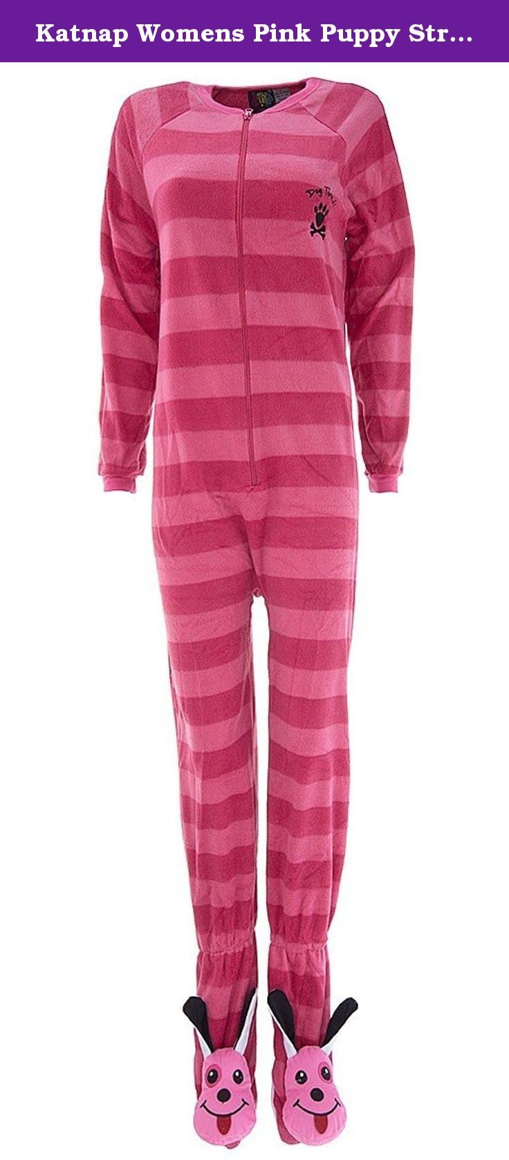 Katnap Womens Pink Puppy Striped Footed Pajamas M. These fleece, footed pajamas are made of warm micro polar fleece. They feature a fun, animal print. The brand is Katnap. They zip up the front. The soles of the feet have a non-skid finish.