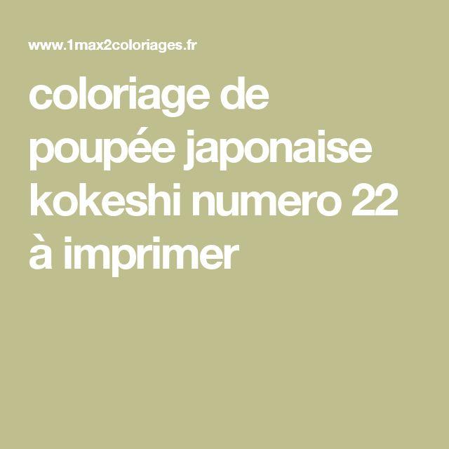 coloriage de poupée japonaise kokeshi numero 22 à imprimer