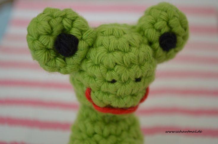 Quaaaaaaaaaaaaaaaaaaaaak und los! Anleitung Fingerpüppchen Frosch Ich habe mit Häkelnadel 4 und Baumwolle in hellem Grün der Stärke 4-5 gehäkelt. Für das Gesicht habe ich einen Rest Schwarz und Rot...