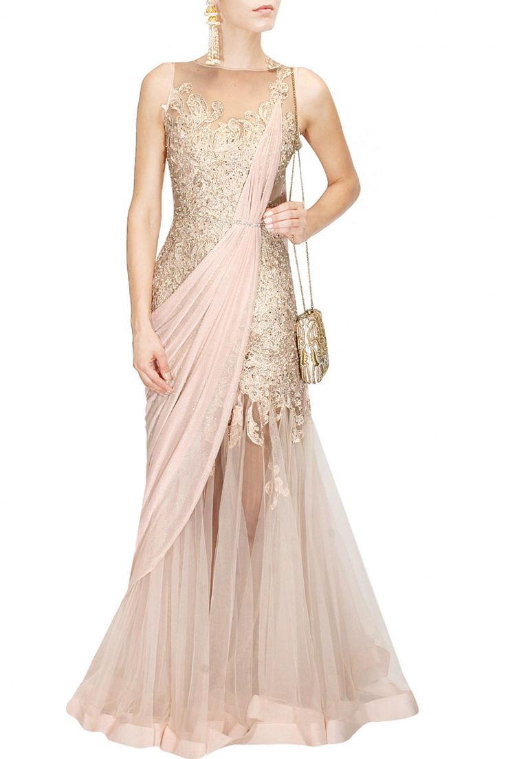 Creamy peach lace work pre draped saree gown available only at Pernia's Pop Up Shop.