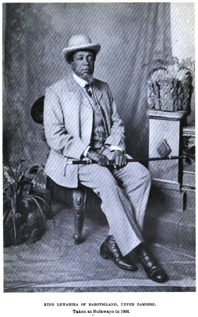 """King Lewanika of """"Barotseland"""" (Land of the Lozi Tribe) in Zambia. Note this picture was taken during his visit to neighboring Southern Rhodesia now known as Zimbabwe. Zambia was also know as Northern Rhodesia."""