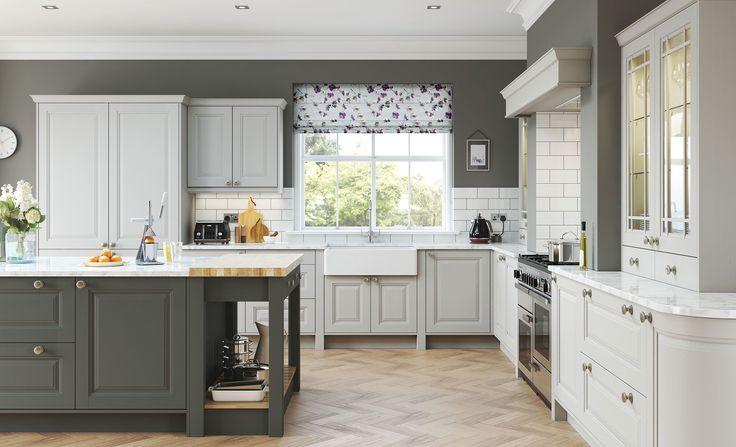 Two tone classic jefferson painted kitchen in light grey \ gun - schüller küchen erfahrungen