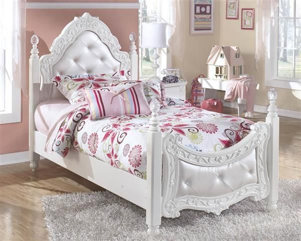exquisite luminous white wood twin poster bed