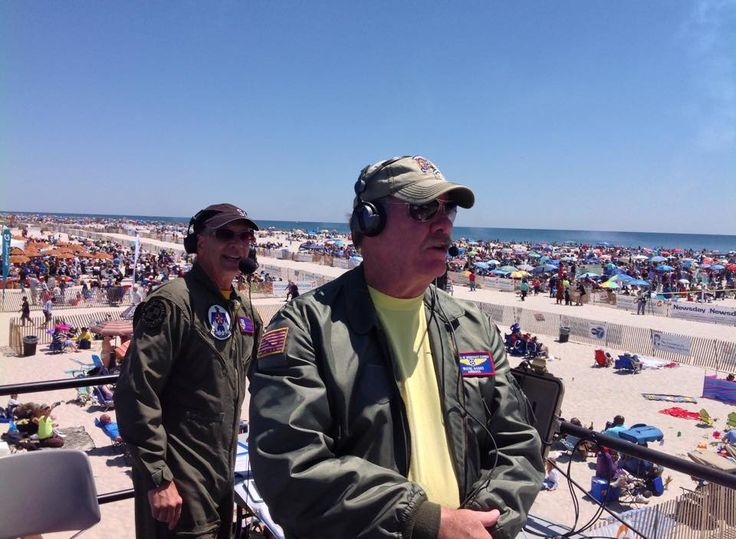 The Gruesome Twosome!  Air Boss Wayne Boggs, and show announcer, Rob Reider sporting our patch at show centre - Jones Beach Air show