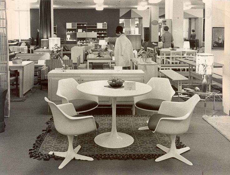 Photograph Of White Plastic Table And Chairs Display In The John Lewis Store 1966