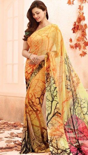 daisy shah multi color printed saree by brijraj