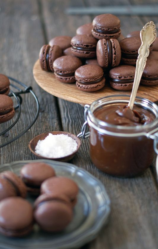 chocolate and salted caramel macarons.