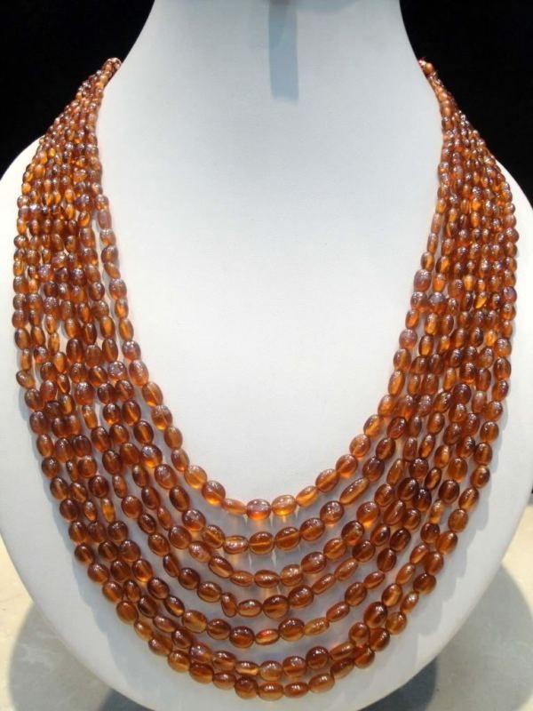 7 Natural Strands Oval Cabochon Hessonite Garnet Beads Necklace(kghg610ct),for further details,visit us at www.krishnagemsnj...