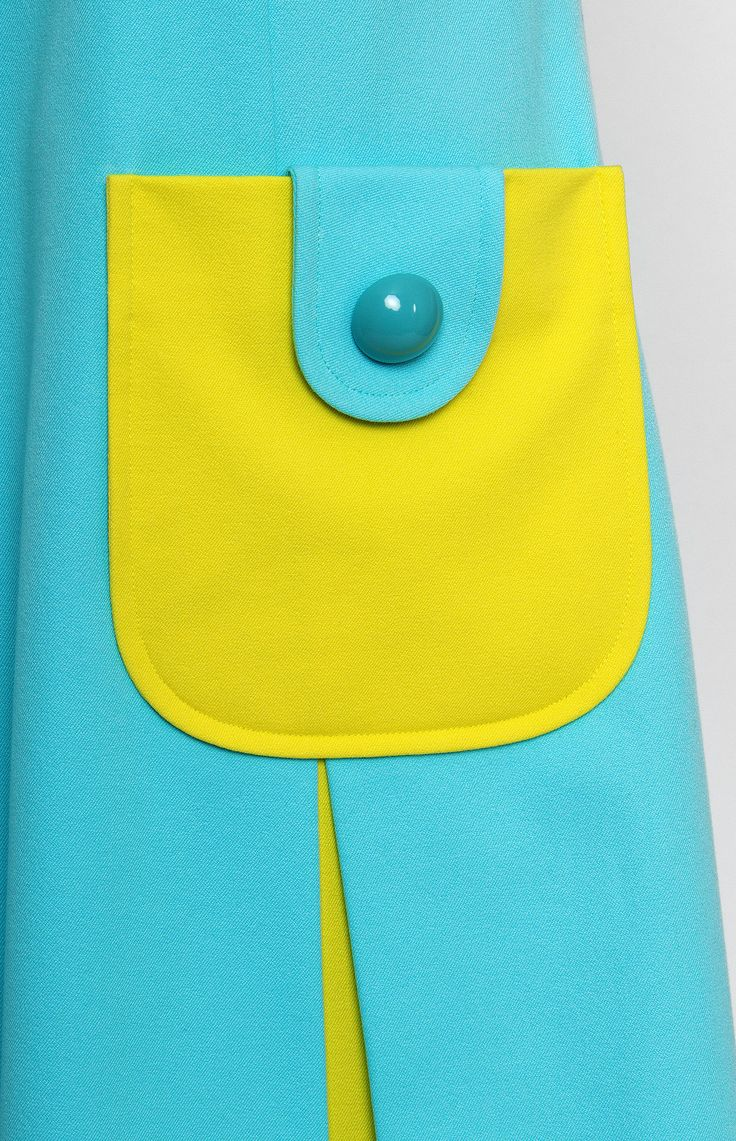 A-shape sleeveless stretchy cotton dress. Boat neck. Hidden back zip closure. Front patch pockets. Unlined. #Pintel #dress #mini #multicolor #cotton #cute #party #summer #pretty #sport #blue #babydoll #yellow