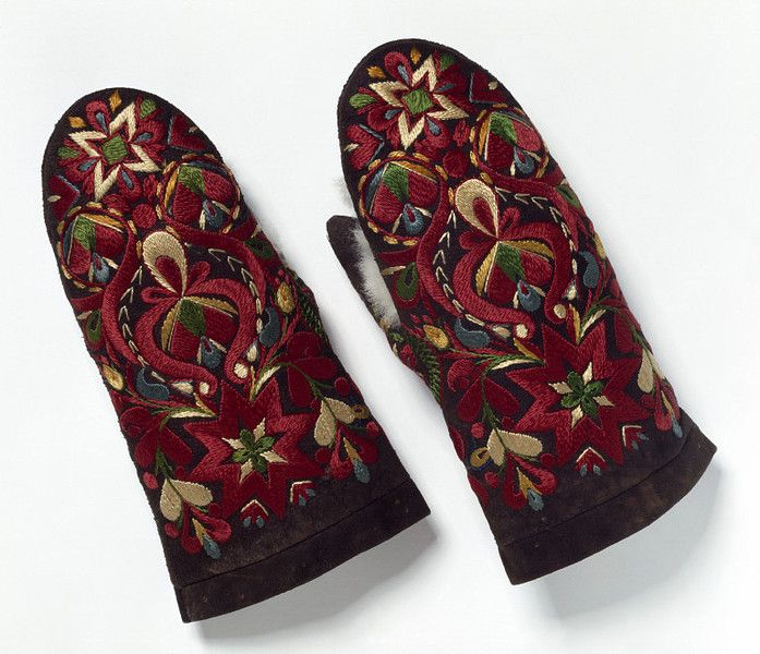 Swedish mittens, 19th century, Leather embroidered in silks, lined with fur, V Museum