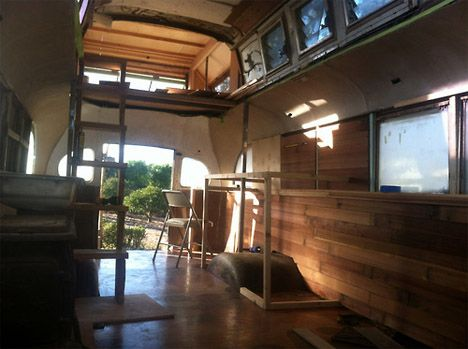 Converted Bus Home 3: The wood paneling inside was reclaimed from a demolition at director George Lucas' house, acquired at the Habitat for Humanity ReStore.
