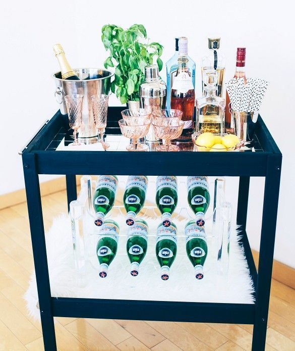 Ikea Sniglar baby changing table re-invented into a bar cart.