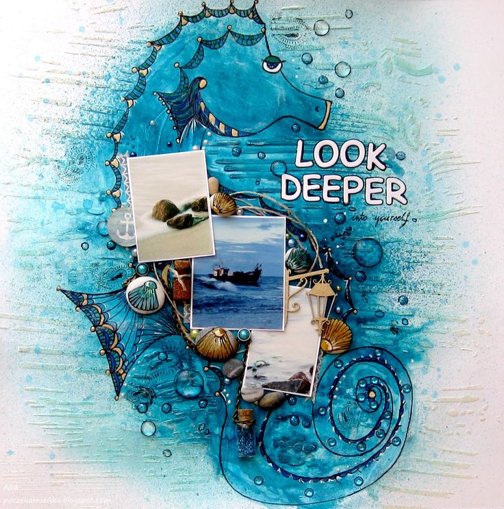 #SATW #scraparoundtheworld #scrapbooking #Scrap #layout #LO #Seahorse #sea #Look #deeper