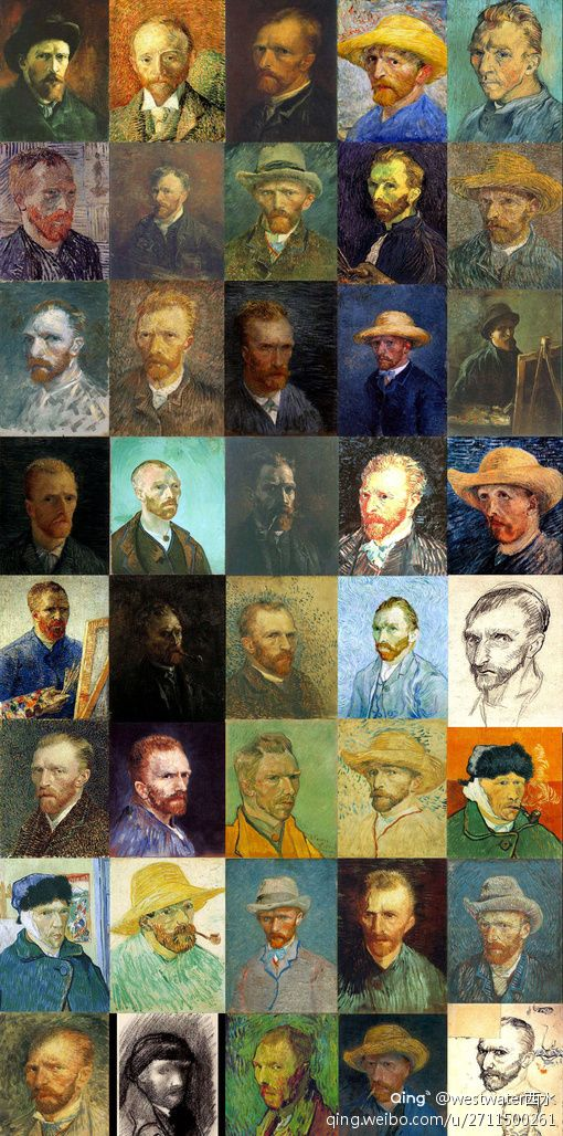 A life time of Self-Portraits by Vincent van Gogh (30 Mar 1853 – 29 Jul 1890): Dutch