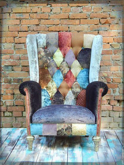 Мебель ручной работы. Ярмарка Мастеров - ручная работа. Купить кресло № 68 в наличии. Handmade. Винтажный стиль, пэчворк