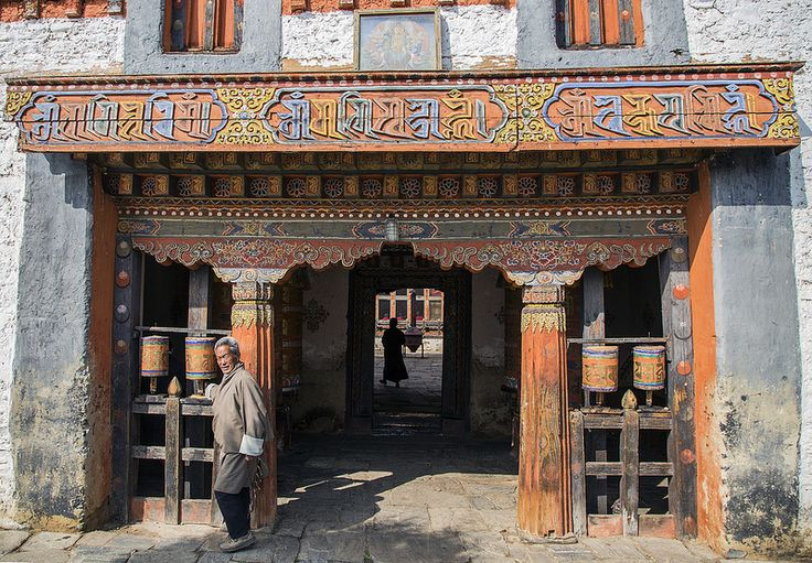 A temple entrance in Bumthang (Jakar) by Hulivili on Flickr - Bhutan