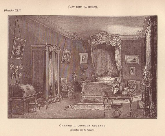 Modern bedroom original 1884 home interior design print ...
