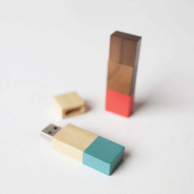 Wooden Flash Drives dipped in paint.