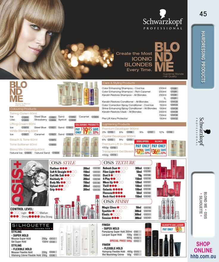 Schwarzkopf Professional Hairdressing Products -BLOND ME -OSIS -SILHOUETTE