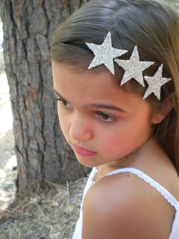 Silver Glitter Star Headband  three silver by LittleBloomsHandmade, $12.00