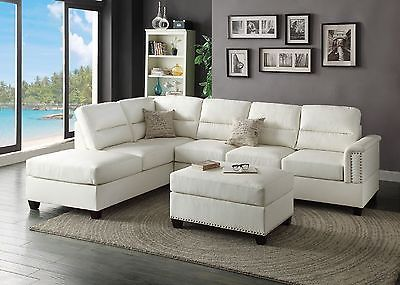 furniture living room 3 pieces white bonded leather sectional sofa set with ottoman buy it
