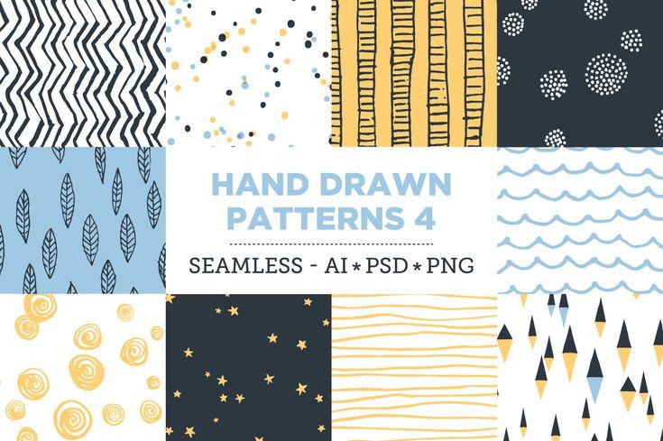 10 Seamless Hand Drawn Patterns v.4 by kloroform on @creativemarket