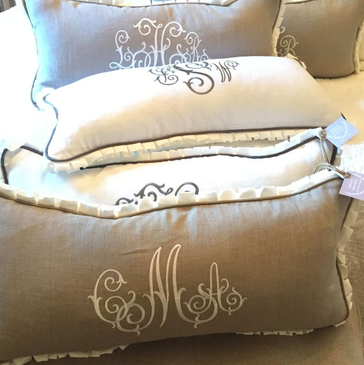 Monogram pillows for Christmas - Holly Mathis Interiors
