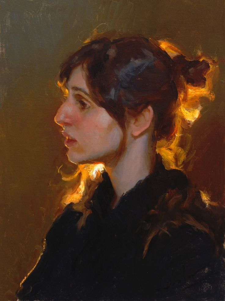 """Backlight"" - Mike Malm, oil on canvas, 2011 {contemporary figurative artist female head glow woman face profile portrait painting #loveart} <3 mikemalm.com:"