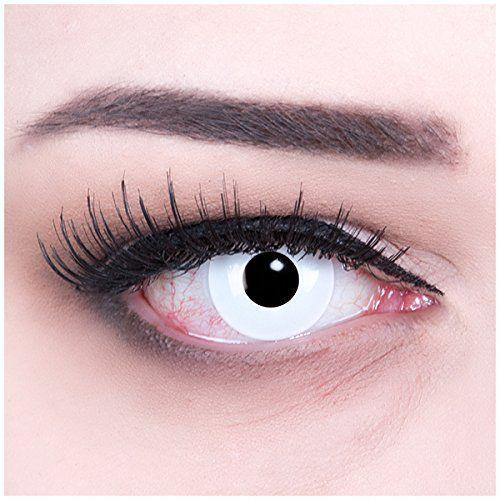 Meralens White Out Kontaktlinsen mit Behälter ohne Stärke, 1er Pack (1 x 2 Stück)
