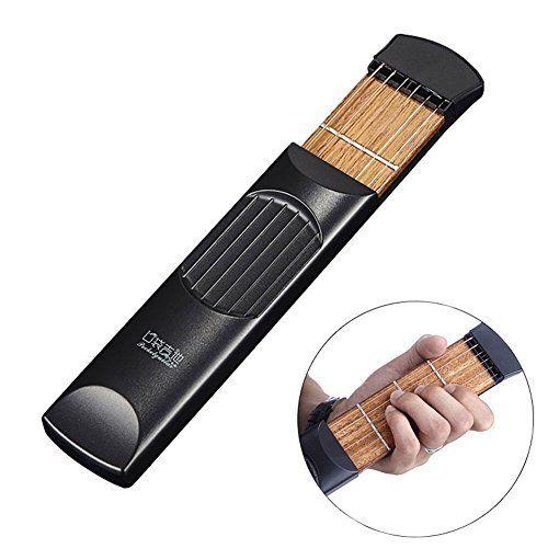 Bestmaple Portable Pocket Guitar Practice Tool Gadget Guitar Chord Trainer 6 Fret Black